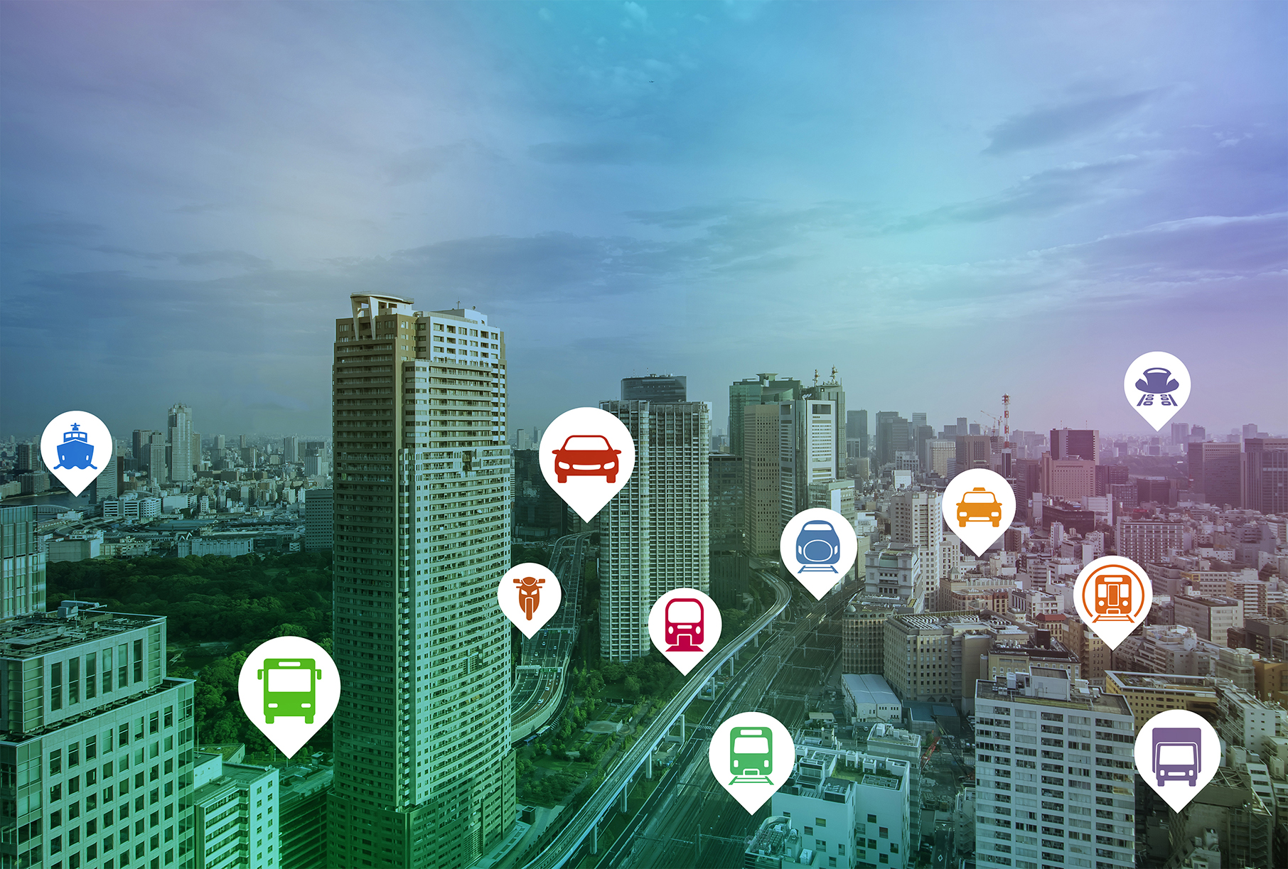 Smart city IoT transportation icons