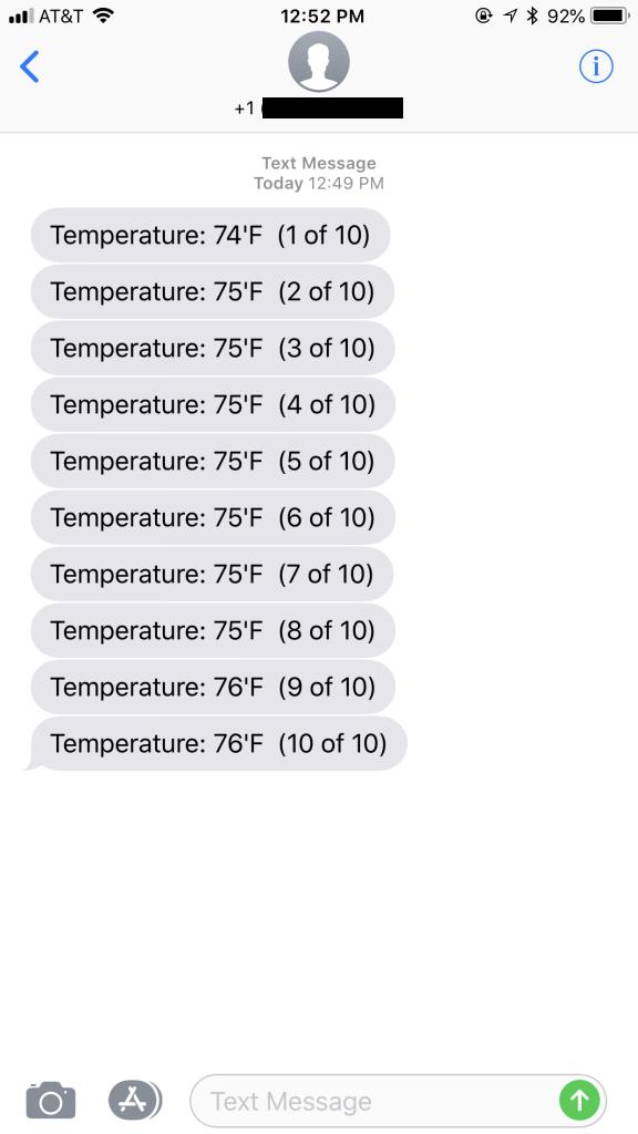 SMS Temperature Example