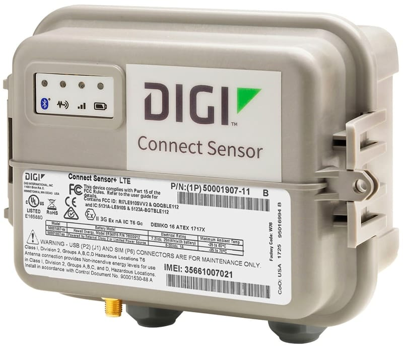 digi connect sensor , battery powered industrial cellular gateway to