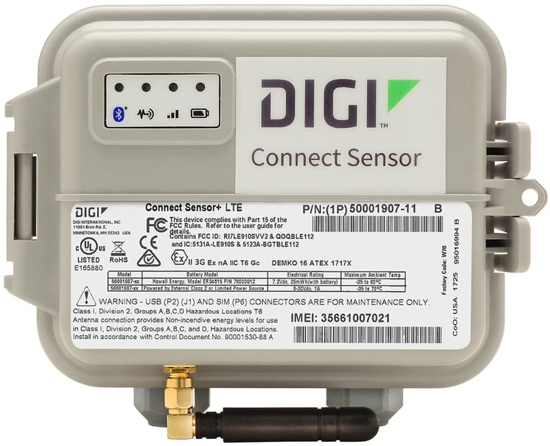 Digi Connect Sensor+, battery-powered industrial cellular gateway to